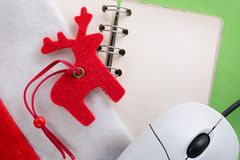 Santa sock with blank notebook Royalty Free Stock Photography