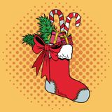 Santa sock with candies Christmas pop art. Vector illustration graphic Royalty Free Stock Photography