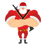 Santa Soldier veteran with ammunition. Army Claus. Christmas War. Defender of new year. Grandfather with beard and mustache. Xmas trooper. Red soldiers helmet vector illustration