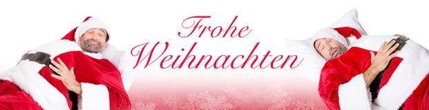 Santa sonnolenta e parole tedesche per Christams allegro illustrazione di stock