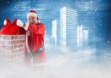 Santa sorridente che rimuove il sacco del regalo dal camino 3D Immagine Stock