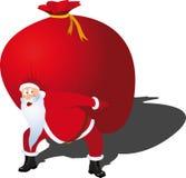 Santa sostiene un bolso de presentes ilustración del vector