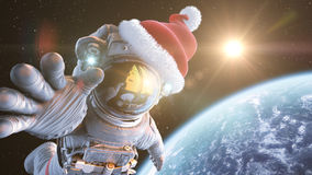 Santa in space. Astronaut in outer space in a Santa Claus hat, 3d render royalty free illustration