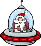 Santa in spaceship cartoon illustration Royalty Free Stock Photography