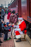 Santa Speaks with Fans at Strasburg Royalty Free Stock Image