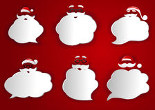 Santa speech bubbles. Illustration of six different Santa Claus speech bubbles all with big white beard but some with hat and some without and some with Stock Photo