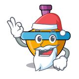 Santa spinning top mascot cartoon stock illustration