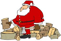 Santa splitting logs. This illustration depicts Santa Claus standing in a pile of logs holding an axe Stock Image