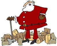 Santa splitting wood. This illustration depicts Santa Claus leaning on an axe with cut logs surrounding him Royalty Free Stock Photo