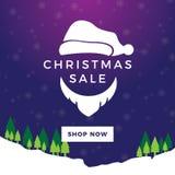 Santa sprzedaży nocy Bożenarodzeniowy sztandar Zdjęcia Stock