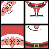 Santa Square Banners. Set of 4 cartoon Christmas banners with Santa Claus and copy space for your text. Good for greeting cards for the holiday season. No royalty free illustration
