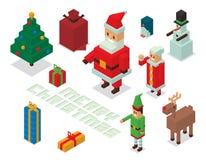 Santa, Sra. Claus, família 3d isométrico dos ajudantes Imagem de Stock