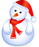 Santa standing as snowman. Santa as a snowman standing isolated on white with red cap Royalty Free Stock Image