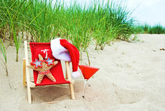 Santa starfish in bikini Stock Photos