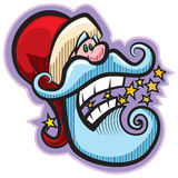 Santa with stars. Cartoon style Santa. Vector illustration, without gradients, great for printing, easy to handle royalty free illustration