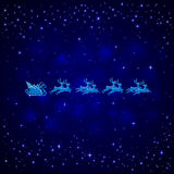 Santa and stars on blue background Royalty Free Stock Images