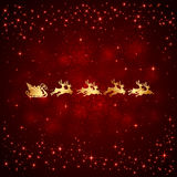 Santa and stars on red background Royalty Free Stock Photos