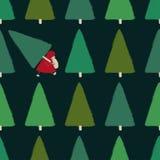 Santa Stealing Christmas Tree Seamless-Patroon royalty-vrije illustratie