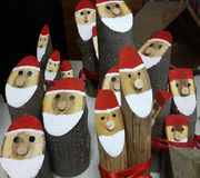 Santa sticks. Santa figures crafted from sticks royalty free stock photo