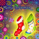Santa Stocking för för ferieberöm för glad jul bakgrund Arkivbild