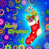 Santa Stocking för för ferieberöm för glad jul bakgrund Royaltyfri Fotografi