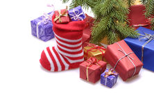 Santa stocking with gifts Stock Image