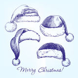 Santa stocking hat set hand drawn vector Stock Photography
