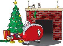 Santa strappa i pantaloni Fotografia Stock Libera da Diritti