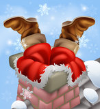 Santa stuck in a chimney Stock Photo