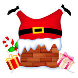 Santa stuck in chimney Royalty Free Stock Photography