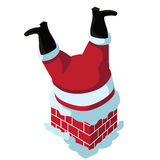 Santa stuck in the chimney  isolated Stock Image
