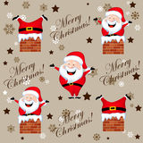 Santa stuck up on a chimney pattern Stock Image