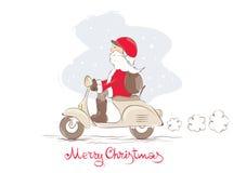 Santa su un motorino Fotografia Stock Libera da Diritti