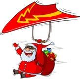 Santa su un paraplane Immagini Stock Libere da Diritti