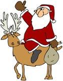 Santa su una renna illustrazione di stock