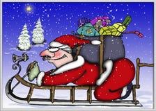Santa su una slitta Fotografia Stock Libera da Diritti