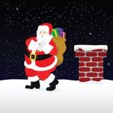 Santa sul tetto illustrazione vettoriale