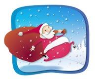 Santa sull'esecuzione Immagine Stock Libera da Diritti