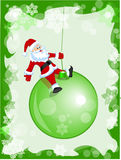 Santa sulla sfera di natale Immagine Stock