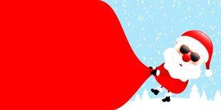 Santa Sunglasses Pulling Gift Bag Backwards Right Side Forest Blue vector illustration