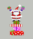 Santa in Sunglasses Tossing Gifts. Edgy Santa Claus standing on a stack of presents tossing gifts into the air Royalty Free Stock Images