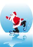 Santa sur des patins Photos libres de droits