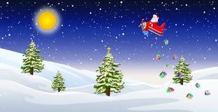 Santa sur l'avion d'air Image libre de droits