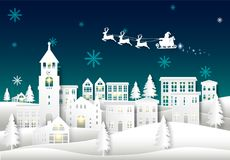 Santa sur le ciel nocturne à l'arrière-plan d'hiver d'art de papier de ville de ville Chr illustration libre de droits