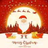 Santa sur le fond rouge d'hiver avec des cadeaux et des lumières de Noël illustration stock