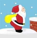 Santa sur le toit Image libre de droits