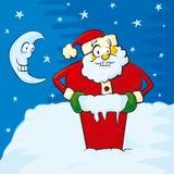 Santa sur le toit Photo libre de droits