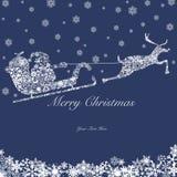 Santa sur Sleigh avec les rennes et les flocons de neige 2 Image libre de droits