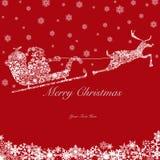 Santa sur Sleigh avec les rennes et les flocons de neige 2 Images stock