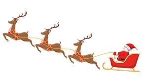 Santa sur Sleigh et ses rennes sur le blanc Photo stock
